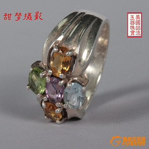 ★★回流特价  925银 嵌橄榄石 托帕石紫水晶黄水晶戒指
