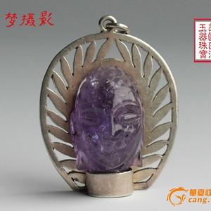 ★★美国回流特价珠宝城 罕见精雕紫水晶佛祖 老银大吊坠