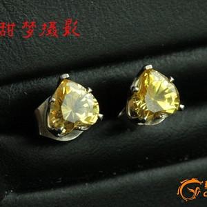 ★★特价 925银 嵌心形黄色施洛华水晶 耳钉【单买不包邮】