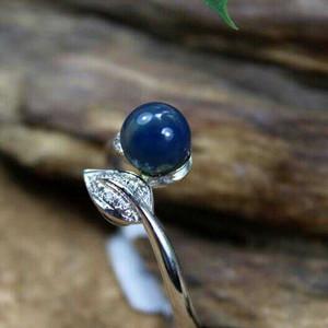 18K金多米尼加蓝珀镶钻戒指
