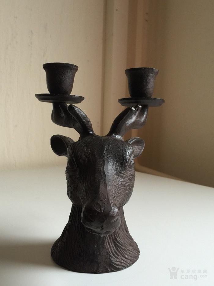 1121 欧洲十九世纪铁鹿头烛台图2