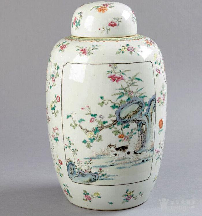 清代 粉彩 四季花卉 开窗山石花鸟 动物 姜罐,不议价。图1