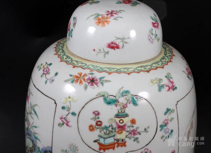 清代 粉彩 四季花卉 开窗山石花鸟 动物 姜罐,不议价。图4