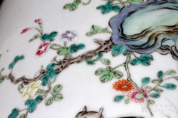 清代 粉彩 四季花卉 开窗山石花鸟 动物 姜罐,不议价。图6