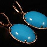 珠宝级别 14k金 天然 瓷松 钻石 耳环,拒绝议价。