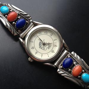 I5898 印第安风格手工打造嵌天然多宝石英纯银女表
