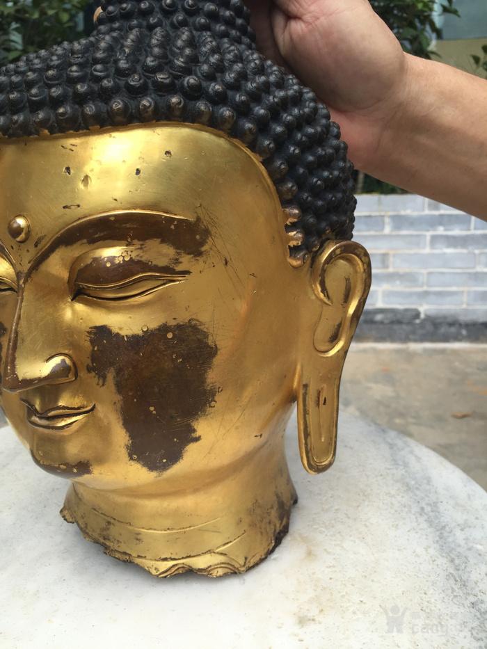 清代 铜鎏金释迦摩尼佛首图3