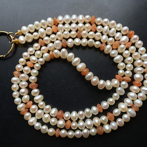 I4486 天然珍珠项链/钥匙链两用