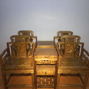 金丝楠木太师椅一套 4椅2几     明清古典金丝楠木老家具
