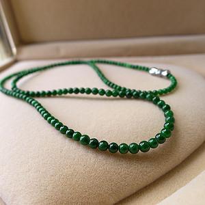 翡翠A货满绿项链