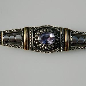 印第安河回流*近代美国紫晶纯银胸针(不还价)