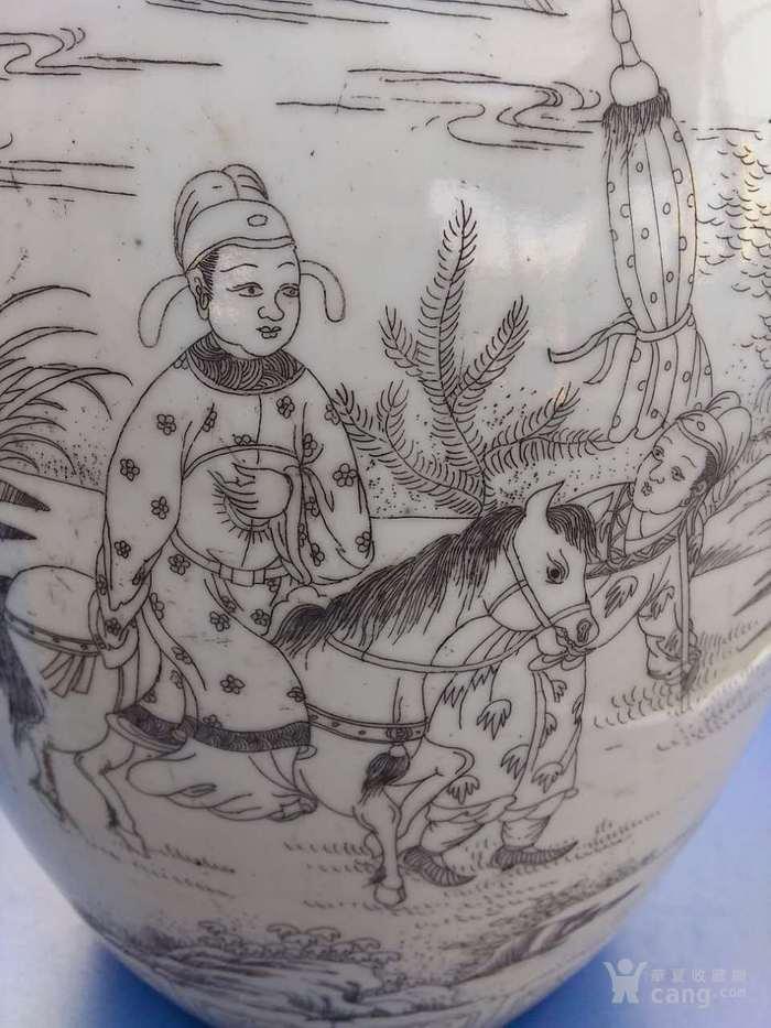 清晚期精品刻瓷梁山伯与祝英台冬瓜罐图4