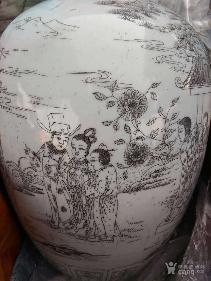 清晚期精品刻瓷梁山伯与祝英台冬瓜罐图7
