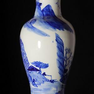 【清光绪】翠毛蓝青花山水人物瓶-全品