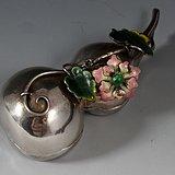 清 北京 三�款 保足银 珐琅 葫芦。