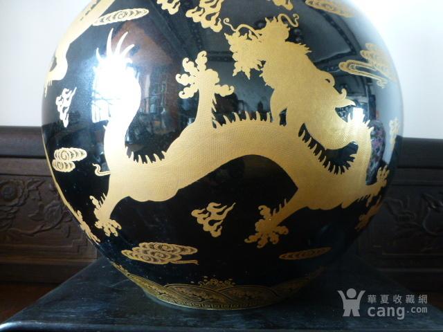 清代黒釉龙纹描金天球瓶图8