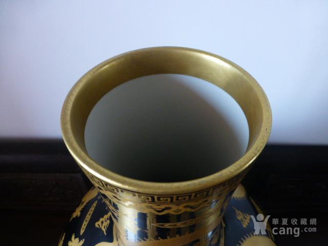 清代黒釉龙纹描金天球瓶图10