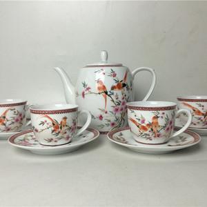 手绘粉彩花鸟春风得意九头茶具咖啡具