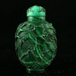 国外回流 老的孔雀石雕花纹饰 鼻烟壶 纹路清晰 美品收藏