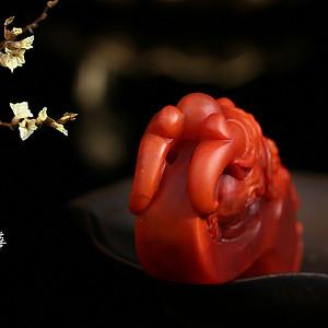 四川凉山名家精工雕刻满色满肉柿子红南红