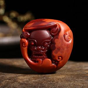 四川凉山苏州名家精工雕刻满色满肉柿子红品质南红