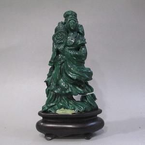 孔雀石雕仕女
