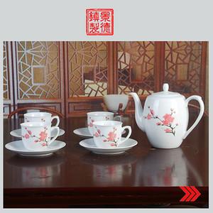 景德镇文革老厂货瓷器/精品收藏/�{白泥釉把子水点桃花九头茶具