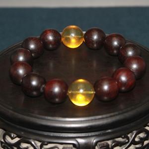 小叶紫檀配金蓝琥珀手串,盘玩多年的珠子