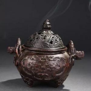清代沉香木雕螭龙耳香炉