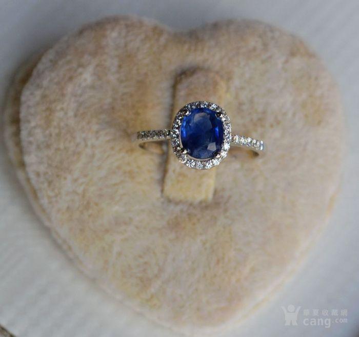 蓝宝石钻戒 天然斯里兰卡蓝宝石镶南非钻石18K金女款钻戒图1