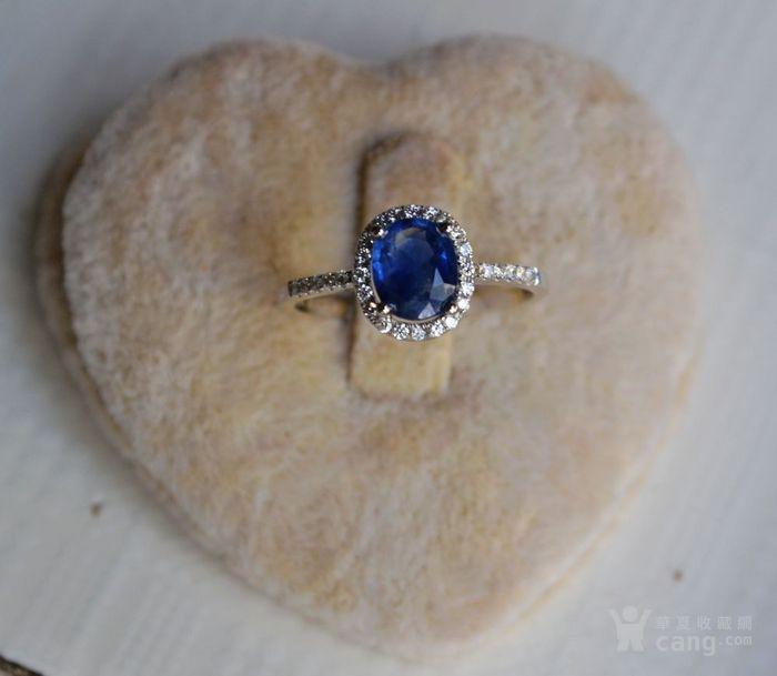 蓝宝石钻戒 天然斯里兰卡蓝宝石镶南非钻石18K金女款钻戒图2