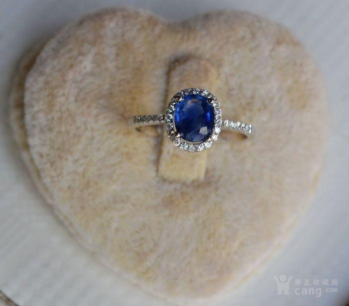 蓝宝石钻戒 天然斯里兰卡蓝宝石镶南非钻石18K金女款钻戒图5