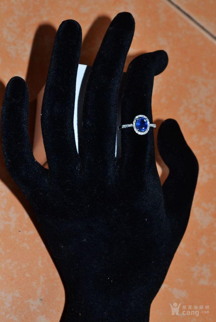 蓝宝石钻戒 天然斯里兰卡蓝宝石镶南非钻石18K金女款钻戒图6