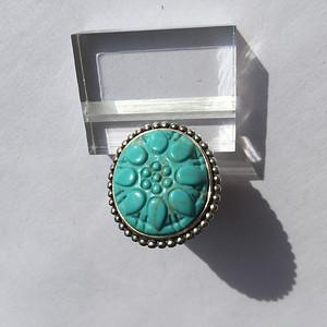 K7385 精美天然雕花松石纯银大戒指
