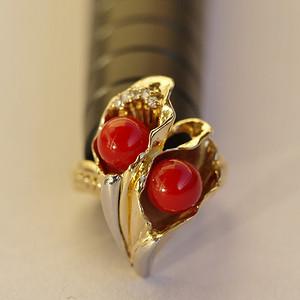 狂欢节!天然阿卡珊瑚双珠镶钻戒指 Pt900