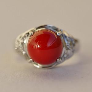 阿卡珊瑚5色圆珠镶钻戒指 9.7mm Pt900