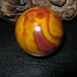 收藏级*红缟大珠子