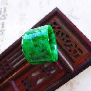 揭阳精品缅甸老坑A货满绿翡翠扳指戒指