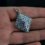 坦桑石吊坠 纯天然坦桑石镶925银镀14K金吊坠