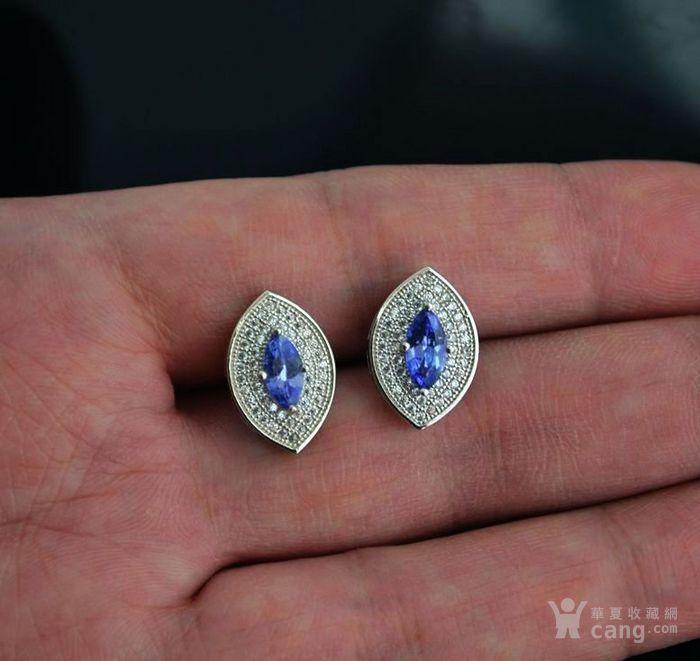 坦桑石耳钉 天然坦桑石925银镀14K金耳钉图1