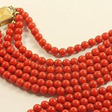 欧洲老首饰 地中海沙丁红珊瑚三连串圆等珠项链44g 在国内