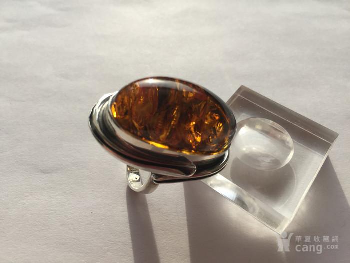 L4535 波罗的海天然琥珀纯银超大戒指 20克图5
