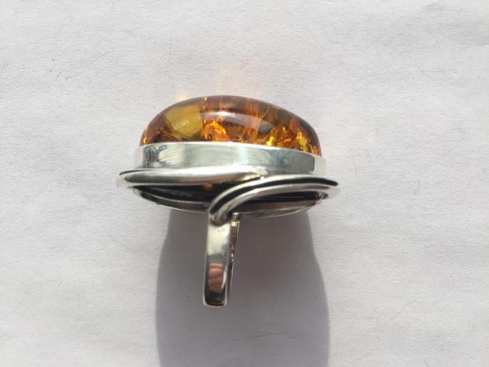 L4535 波罗的海天然琥珀纯银超大戒指 20克图8