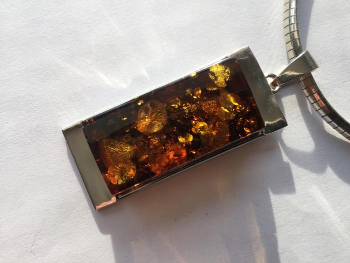 L9860 波罗地海天然金绿琥珀厚重纯银项链图6