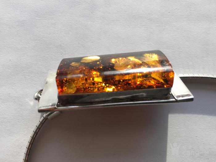 L9860 波罗地海天然金绿琥珀厚重纯银项链图4