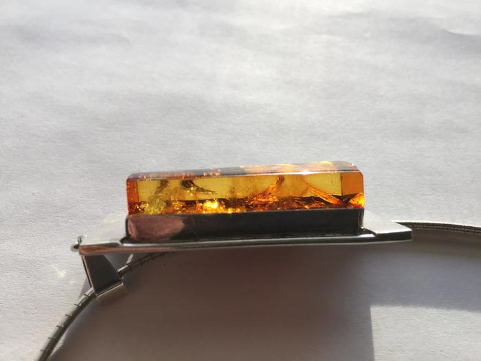 L9860 波罗地海天然金绿琥珀厚重纯银项链图11