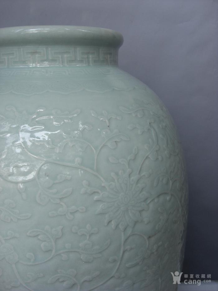 清中期 超大粉青釉缠枝宝相花太白罐 已鉴定图3