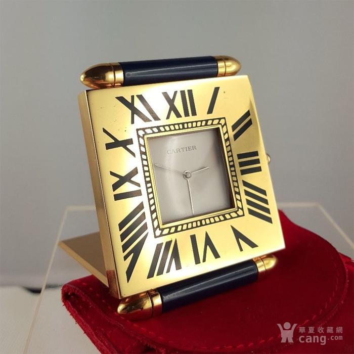 卡地亚Cartier镀金旅行闹钟/座钟*带天然蓝宝石*图1
