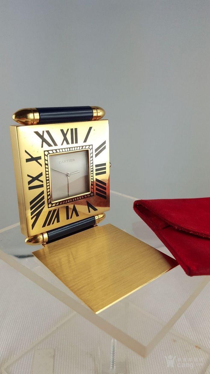 卡地亚Cartier镀金旅行闹钟/座钟*带天然蓝宝石*图3