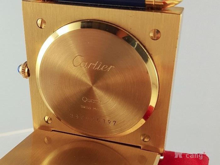 卡地亚Cartier镀金旅行闹钟/座钟*带天然蓝宝石*图4